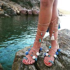 "Tie Up Gladiator Sandals, Greek Sandals, Semi Precious Stones, Pom Pom Sandals, Boho Chic Sandals, ""Sifnos"""