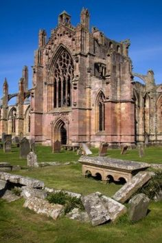 Melrose Abbey is a Gothic-style abbey in Melrose, Scotland. It was founded in 1136 by Cistercian monks, on the request of King David I of Scotland. It was headed by the Abbot or Commendator of Melrose. Today the abbey is maintained by Historic Scotland. Oh The Places You'll Go, Places To Travel, Places To Visit, Melrose Abbey, Travel Around The World, Around The Worlds, England And Scotland, Scotland Uk, Abandoned Churches
