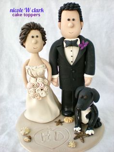 A BEACHY WEDDING CAKE TOPPER.  Boho Bride and groom on a beach cake topper.  Custom made clay wedding tops by www.nicolewclark.com.  All toppers are lovingly made by Nicole W Clark.  #mexicowedding #beachwedding #beachweddingideas