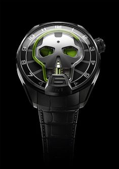 The #HYT Skull Green Eye watch with a black-DLC titanium case and green fluid, is limited to 50 pieces. #watchtime #watchfreak #watchaddict