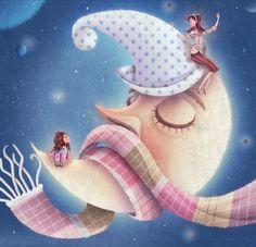 Ilustración Óscar T. Pérez: La Luna tiene frío Moon ☾