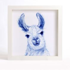 "Animal Art Print of Original Watercolor Painting, ""Blue-And-White"" series - Curious Llama. A lovely reproduction of my original watercolor painting CURIOUS LLAMA. This blue and white art print will bring a little elegance and interest to your home or office. I love the expression on the curious animals, so I paint a series of curious animal with blue and white color, I would like the paintings see like the Chinese blue and white porcelain. I painted this animal with Chinese brush, color…"