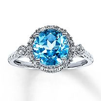10K White Gold Blue Topaz & Lab-Created White Sapphire Ring