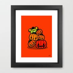 Rin Rin pumpkin Halloween Framed Art Print by Ziqi - $37.00
