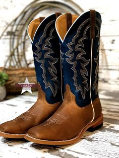 Leather Square toe Roper heel Move from the saddle to the dance floor without missing a beat when you wear these western boots from Horse Power. These boots have leather construction with a striking Sugared Blue Jeans upper that will make these yo. Dress With Boots, Jeans And Boots, Cute Shoes, Me Too Shoes, Cute Cowgirl Boots, Cowboy Boots For Men, Western Shoes, Over Boots, Country Boots
