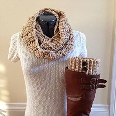 Oatmeal Infinity Scarf and Boot Cuff Set with Brown Buttons A skillfully handmade set of boot cuffs with buttons with a matching infinity scarf in an Oatmeal color.  #gifts #handmade #scarf #boot #cuff #buttons #brown