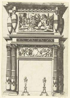 Anonymous   Schoorsteenmantel, gedecoreerd met een voorstelling van Marcus Curtius, Anonymous, Jacques Androuet, André Wechel, 1520 - 1561   Aan weerszijden van de voorstelling staan twee vaasvormige hermen. Uit een serie, bestaande uit een titelblad en 66 bladen met schoorsteenmantels, gedecoreerd met zuilen, hermen, cartouches, guirlandes en mascarons. Alle schoorsteenmantels zijn voorzien van haardijzers.