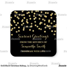 Gold Black Christmas Baking Sticker Confetti
