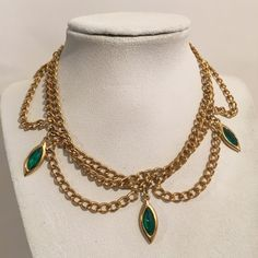 Vintage Emerald Green Crystal Rhinestone Collar Choker Necklace Gold Tone Costume Jewelry by JewelryGeeks on Etsy https://www.etsy.com/listing/261069829/vintage-emerald-green-crystal-rhinestone