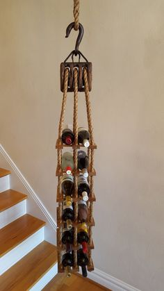 Nautical Hanging Wine Rack by woskab on Etsy