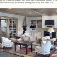 White plank walls and a warm colored ceiling. Taupe Living Room, Living Room Built Ins, Coastal Living Rooms, Living Spaces, Cozy Living, White Plank Walls, Planked Walls, White Paneling, Colored Ceiling