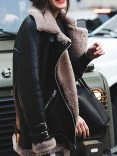 Lovely outfit idea to copy ♥ For more inspiration join our group Amazing Things ♥ You might also like these related products: - Jeans ->. Faux Fur Lined Coat, Winter Fur Coats, Winter Stil, Aviator Jackets, Hipster, Casual Blazer, Jacket Style, Moto Jacket, Sherling Jacket