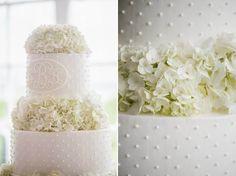 Classic and traditional. White hydrangea wedding cake, pearl dot wedding cake. Charleston, SC Cake by Ashley Bakery