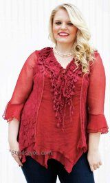 AP Montabella PLUS SIZE Blouse In Burgundy