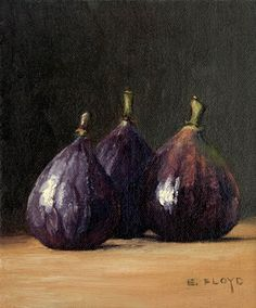 "Elizabeth Floyd: ""Figs no. 2,"" oil on linen panel, 6"" x 5"""