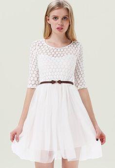 Robe plissée avec ceinture -Blanc