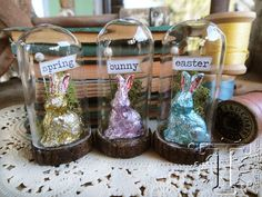 Faux chocolate bunnies using alcohol ink. These shown are very small. Hoppy Easter, Easter Bunny, Chocolate Bunny, Chocolate Kisses, Chocolate Wrapping, Easter Parade, Easter Holidays, Egg Decorating, Vintage Easter