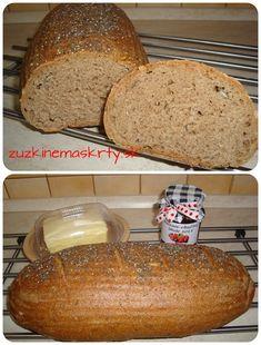 Kváskový špaldový celozrnný chlieb so semienkami - zuzkinemaskrty.sk Bread Recipes, Baguette, Basket, Bakery Recipes