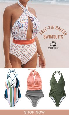 2019 CUPSHE self-tie halter swimsuits collection. Click in and shop one for your summer time. Summer Wear, Summer Outfits, Cute Outfits, Summer Time, Halter Swimsuits, Cute Swimsuits, Bikinis, Swimwear Fashion, Bathing Suits