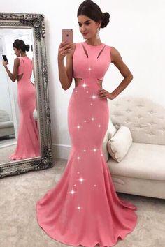 Modest Acetate Satin Jewel Neckline Cut-out Mermaid Prom Dress