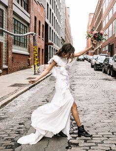 Wedding dress, beauty, hair and makeup bridal inspiration for the tomboy bride. Grunge Wedding, Edgy Wedding, Elegant Wedding Gowns, Wedding Boots, White Wedding Dresses, Wedding Bride, Wedding Styles, Green Wedding, Bride Boots