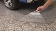 Epoxy Protector Mat Clear, vinyl parking mat for vehicles, equipment, atv& - - Aquaguard Flooring, Grey Vinyl Flooring, Wide Plank Flooring, Linoleum Flooring, Flooring Ideas, Epoxy Floor Diy, Metallic Epoxy Floor, Garage Floor Mats, Small Log Homes