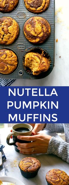 Nutella Swirl Pumpkin Muffins. Small batch muffin recipe for two. Easy Fall muffins