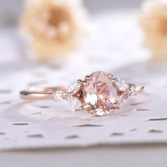 Natural Pink Morganite Engagement Ring Sterling Silver Rose Gold Marquise CZ Diamond Antique Art Deco Women Promise Anniversary Gift - This is oval cut morganite engagement ring rose gold. The accent stones are VVS man made of c - Engagement Ring Rose Gold, Engagement Ring Settings, Vintage Engagement Rings, Diamond Wedding Bands, Wedding Rings, Opal Diamond Engagement Ring, Handmade Engagement Rings, Halo Engagement, Aquamarin Ring