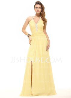 Prom Dresses - $139.99 - A-Line/Princess Halter Floor-Length Chiffon Prom Dresses With Ruffle Beading (018016093) http://jjshouse.com/A-Line-Princess-Halter-Floor-Length-Chiffon-Prom-Dresses-With-Ruffle-Beading-018016093-g16093