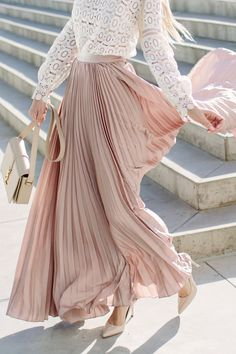 New white pleated maxi length women long skirt casual elegant spring summer Pleated Skirt Outfit, Skirt Outfits, Dress Skirt, Pleated Maxi, Midi Skirt, Tan Skirt, Elegant Woman, Long Skirts For Women, Going Out Outfits