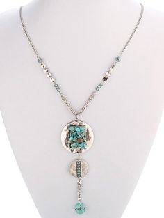Boho Style Faux Turquoise Disc Necklace #CLICK! #clothing, #shoes, #jewelry, #women, #men, #hats