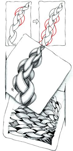 "The Diva gives a good explanation of this tangle ""punzel"", but it's difficult - must practice"