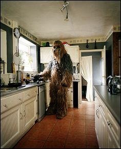 Love the stone floors and dark counter tops ... Chewbacca got style.