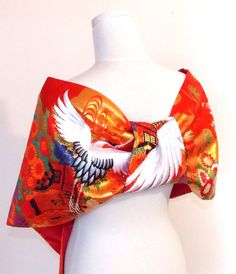 Vintage wedding KIMONO Shawl butterfly red white by Shantique