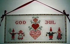 Tomtar with Heart Wallhanging (Scandinavian Stitches)