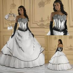 Let charming corset wedding dress on DHgate.com get your heart. Besides, cream wedding dresses and designer wedding dress are also winners.  vintage strapless corset ball gown wedding dresses black appliques beaded white organza lace-up bridal gowns plus size belong to you and onlyshow can cheer you up.