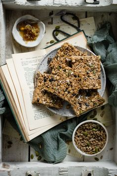 Healthy Homemade Granola Bars are a chewy granola bar recipe made with sunflower butter, dried cherries, nuts, honey, and coconut oil. No Bake Granola Bars, Healthy Granola Bars, Healthy Protein Snacks, Chewy Granola Bars, Homemade Granola Bars, Healthy Breakfasts, Healthy Shakes, High Protein, Eating Healthy