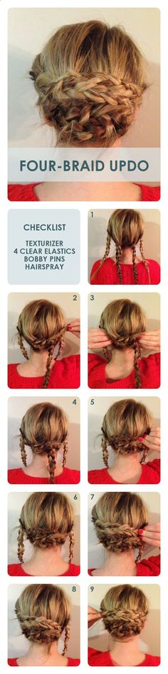 Four Braid Bun Updos: Updo Hairstyle Tutorial. this looks super easy actually (… Four Braid Bun Updos: Updo Hairstyle Tutorial. this looks super easy actually (I'm sure its not as simple as it looks. Lol) but I think this is… Continue Reading → Updo Hairstyles Tutorials, Braided Hairstyles, Hairstyle Ideas, Trendy Hairstyles, Wedding Hairstyles, Hairstyles 2018, Woman Hairstyles, Updos Hairstyle, Quinceanera Hairstyles