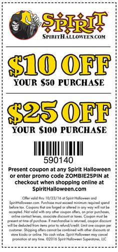 10 off 30 at spirit halloween or online via checkout promo saveon30 coupon via the coupons app halloween fun pinterest spirit halloween - Spirit Halloween 50 Off Coupon