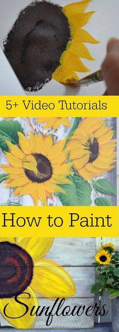 Easy and fun sunflower painting tutorials by different artists! Acrylic Painting Techniques, Painting Lessons, Painting Tips, Tole Painting, Painting & Drawing, Painting Flowers, Drawing Flowers, Matte Painting, Drawing Tips
