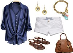 Summer Outfit Ideas - What to Wear with White Shorts - A flowy denim shirt, strappy sandals and some sparkly colorful jewelry.