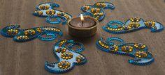 Blue and yellow Reusable Diwali Rangoli Kundan by Shimmeria Indian Rangoli, Diwali Rangoli, Diwali Party, Diwali Decorations, Tealight Candle Holders, Rangoli Designs, Yellow, Blue, Handmade Items