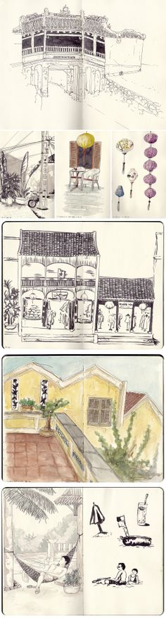 sketches of Hoi An, Vietnam, by Faustine Clavert. The Japanese bridge, the streets, the beach. #sketches #hoiAn #vietnam #watercolor #iltawo #urbansketcher