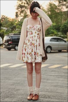 Zara Cream Cardigan, Online Floral Bustier, Burberry Sling Bag, Topshop Knit Cream Thigh Highs, Cole Vintage Oxfords - The girl who leapt th. Floral Fashion, Love Fashion, Autumn Fashion, Fashion Outfits, Fashion Trends, Floral Bustier, Dress With Cardigan, Cream Cardigan, Fashion Lookbook