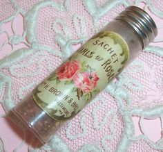 Petite ANTIQUE Brown Bros. Pearls of Roses Lithograph Label Perfume Sachet Bottle