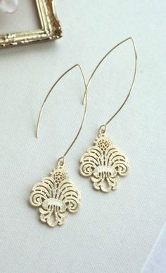 Gold Filigree Moroccan Earrings. Wedding Jewelry