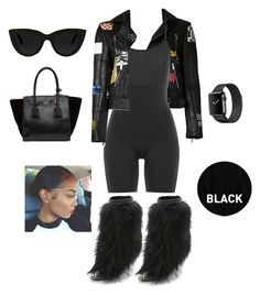 """Black Knights with Heavy"" by heavydressing on Polyvore featuring Yves Saint Laurent, Giuseppe Zanotti, SPANX, Quay, Prada and Sleep In Rollers"