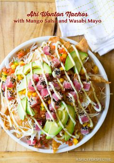 The BEST Ahi Wonton Nachos with Wasabi Mayo and Fresh Mango Pico de Gallo on ASpicyPerspective.com #nachos