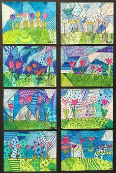 Spring Art Gallery: Children's Art (Grade ONEderful) – … Spring Art Gallery: Kinderkunst (Klasse ONEderful) – Spring Art Projects, School Art Projects, Art School, High School, Art Floral, Arte Elemental, Grade 1 Art, 3rd Grade Art Lesson, Classe D'art