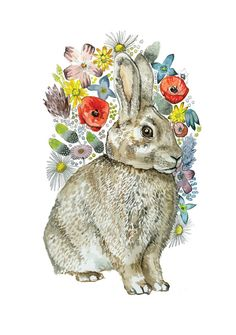 Floral rabbit by vegan illustrator Natalie Hough from her own little shop, The Ethical History Museum  #illustration #vegan #animal